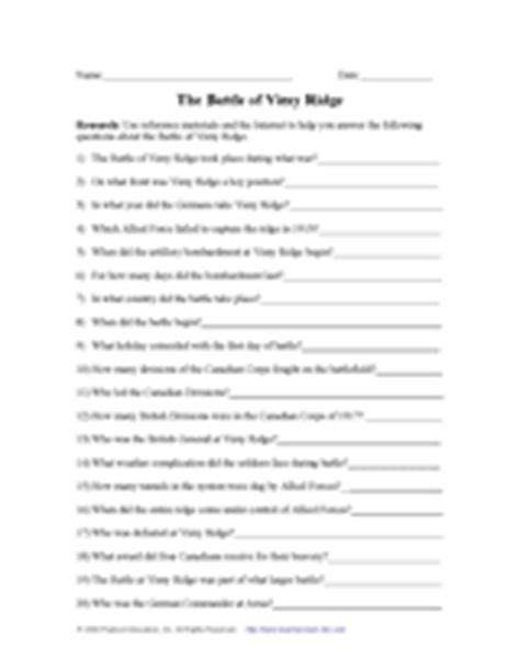The Battle Of The Somme Worksheet Answers by World War I 1914 1918 Teachervision