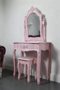 Shabby chic pink girls dressing table and stool set sophie pink