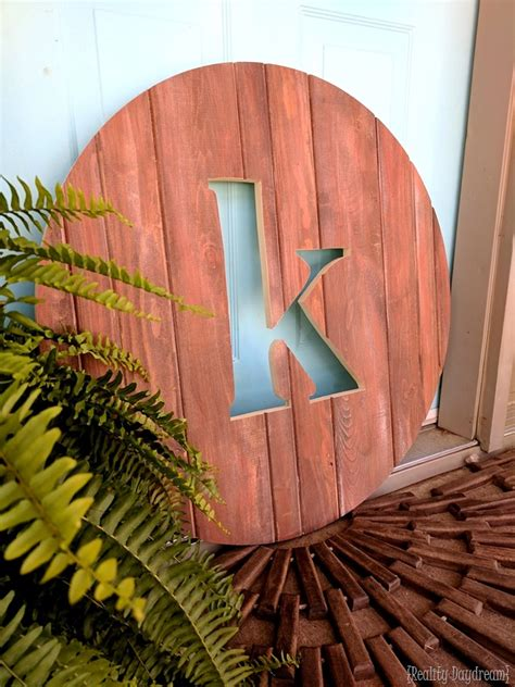 circle monogram pallet sign for indoors or outdoors