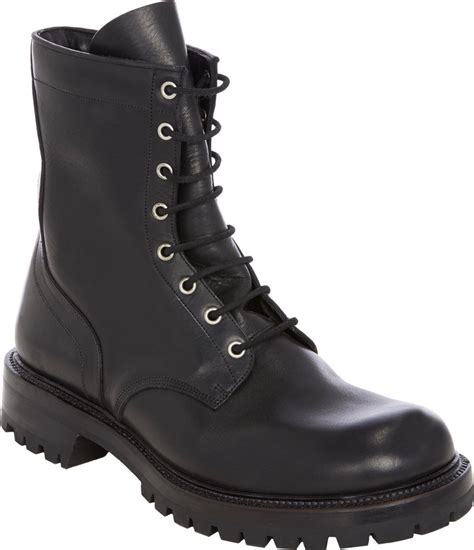 black lace up mens boots rick owens lace up combat boots in black for lyst