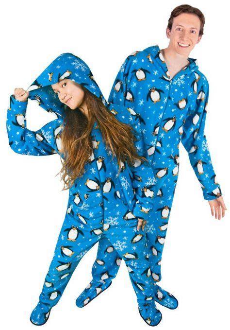 drop seat pajamas for family couples pajamas penguin footed pajamas matching