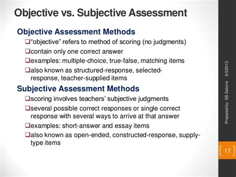exles of objective and subjective statements designing outcomes based education assessment tasks