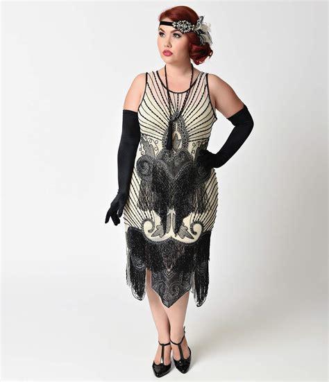 1920s style black gold beaded drop waist flapper dress