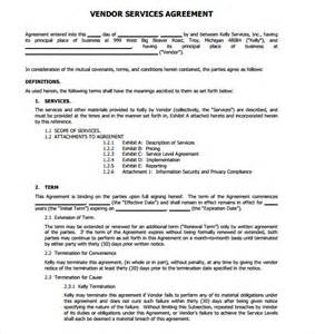 Vendor Terms And Conditions Template by Sle Vendor Contract Template 9 Free Sles