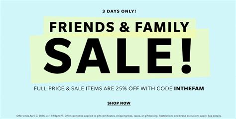 Shopbop Me Back by Shopbop Friends And Family Sale 2016 Gift Certificate