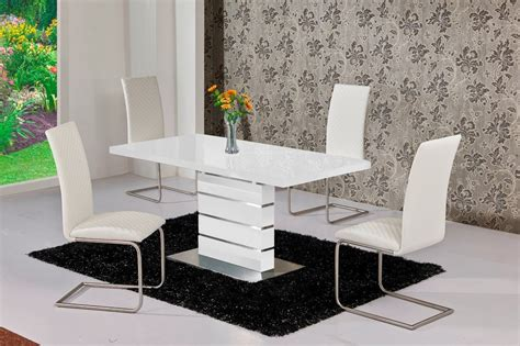 white dining table and chairs mace high gloss extending 120 160 dining table chair set