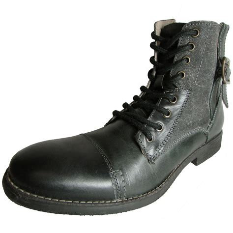 combat boot steve madden mens fragmnts leather and canvas combat boot