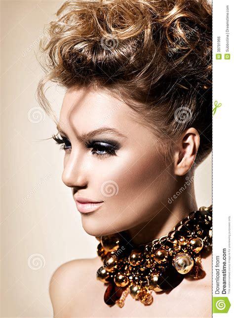 girl  perfect fashion makeup  hairstyle stock photo