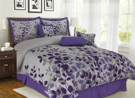 7pcs Queen Fresca Purple And Gray Bedding Comforter Set Ebay