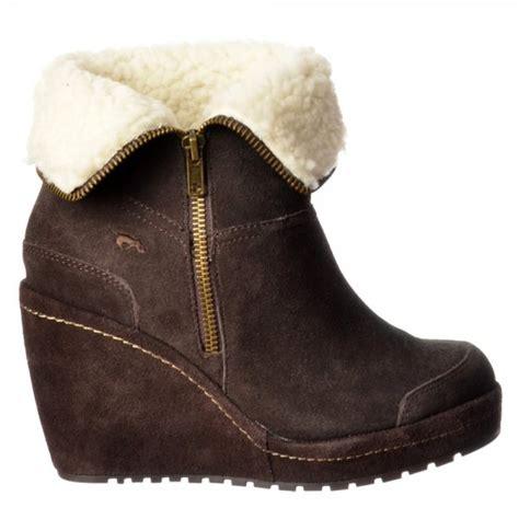 rocket boyd fur lined suede wedge heel platform ankle