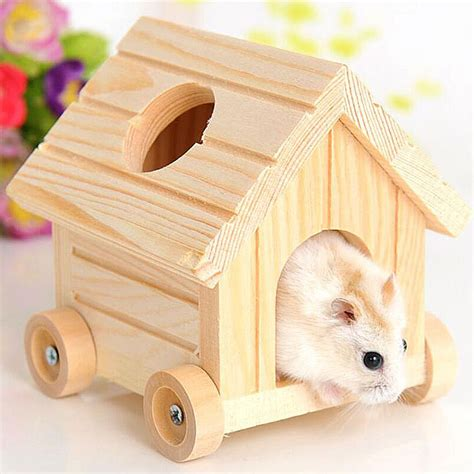 cute little house dogs small pets cute wooden house cage nest with four wheels for hamster rabbit squirrel