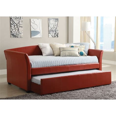 trundle bed with mattress included shop furniture of america delmar red twin daybed with
