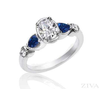 vintage oval engagement ring with sapphire accent