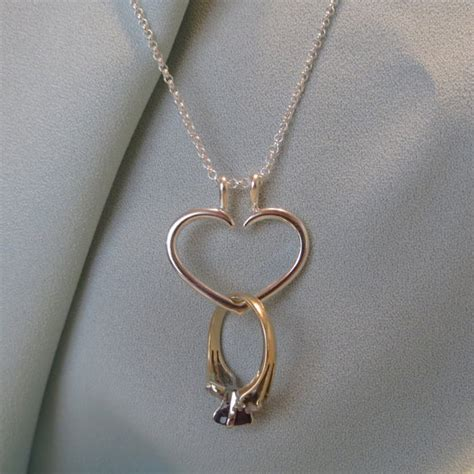 Heart Engagement Ring Holder Necklace Charm Pendant