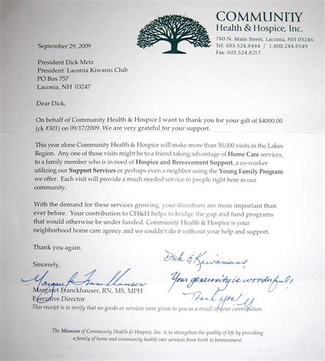 Thank You Note For Hospice Donation Laconia Kiwanis Club