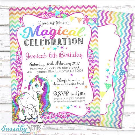 unicorn birthday invitation templates rainbow unicorn invitation