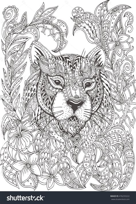 doodle patterns for colouring hand drawn tiger with ethnic floral doodle pattern