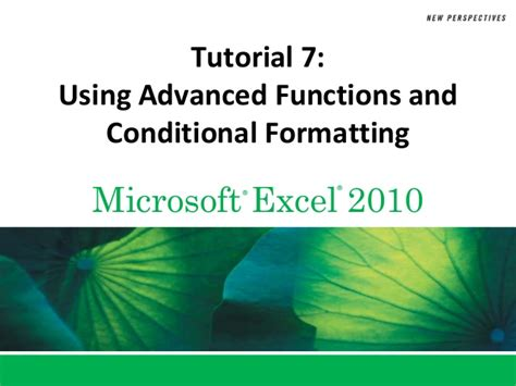 tutorial excel 2010 advanced tutorial 7 advanced functions and conitional formating