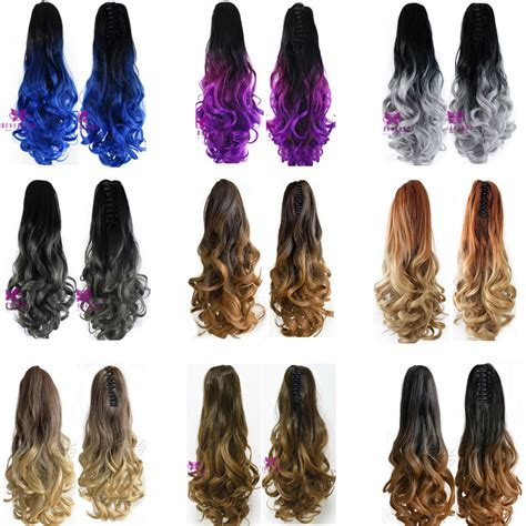 Hairclip Ombre Curlyponytailwig newest 20 quot clip on hair extensions claw pony synthetic hairpiece curly wavy ombre color two