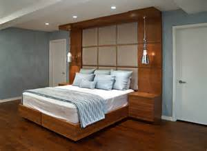 contemporary built in cherry bed and headboard