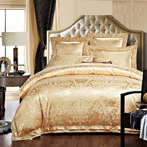 Gold Bedding Sets Luxury Jacquard Silk Bedding Sets King Size 4pcs Gold Satin Bed Set Duvet Comforter Cover