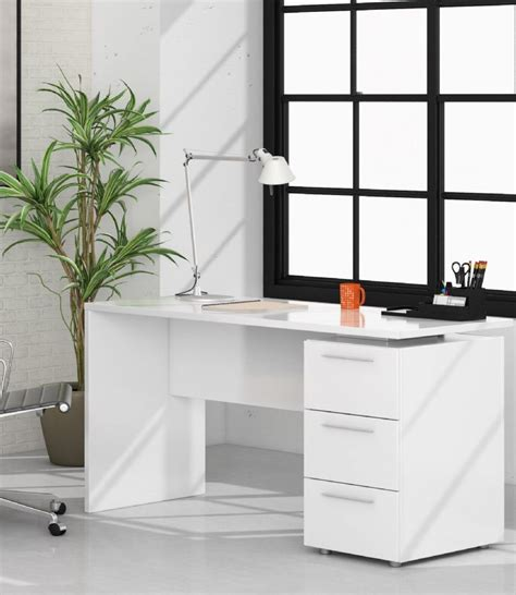 P Desk by Adalrik White Desk With Drawers Save 40 At Furniturefactor
