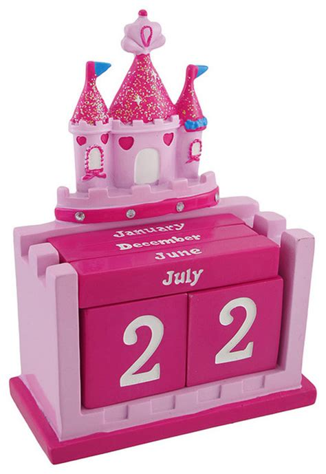 Pink Desk Accessories Set Pink Princess Castle Perpetual Calendar Set Contemporary Home Decor By Zeckos