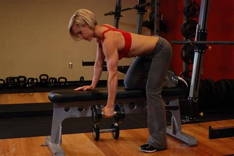 dumbbell bench rows one arm dumbbell row exercise guide and video