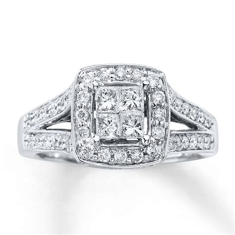 engagement ring 3 4 ct tw princess cut 14k
