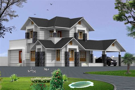 home exterior design 3d 2200 sqft 4 bed room house 3d exterior view home design