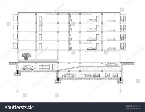 building section drawing cad architectural five storey building section stock