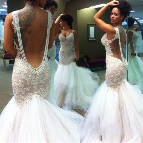 Sexy Mermaid Backless Wedding Bridal Gown Dress with Lace   Dressywomen.com.