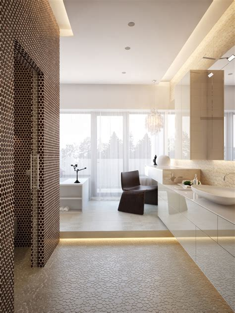 Modern House Interiors With Dynamic Texture And Pattern Modern Master Bathroom
