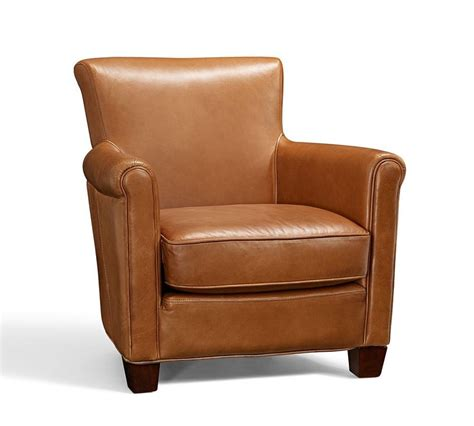 Armchair Media by Irving Leather Armchair Chestnut Pottery Barn Au