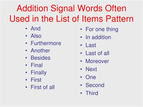 pattern of organization signal words ppt signal words patterns of organization powerpoint