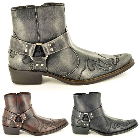 mens western shoe boots mens gents pointed toe zip western cowboy ankle boots