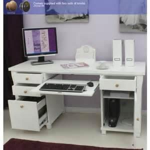 Bedroom Computer Desk Uk Hampton White Painted Double Pedestal Computer Desk