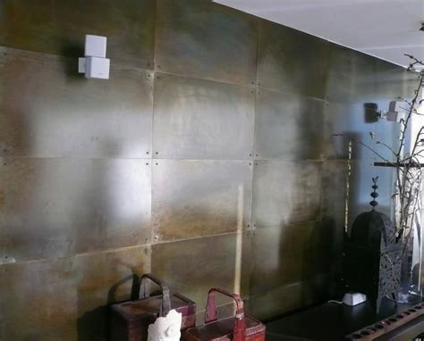 Metal Panels For Interior Walls by Steel Wall Panels With Patina Finish And Steel Rivets For