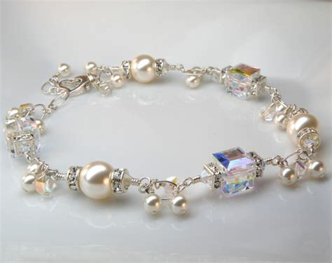 Handmade Pearl Bracelet - modern bracelet swarovski cube white pearl