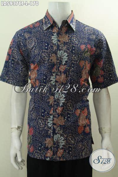 Kemeja Batik Bunga Biru hem batik gaul warna biru produk baju batik cowok terkini