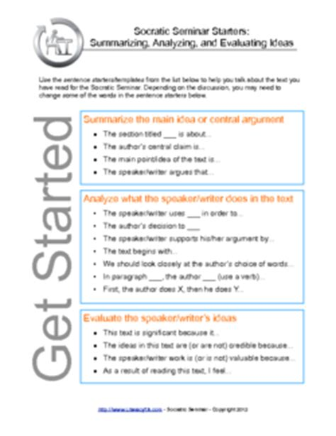 socratic seminar lesson plan template socratic seminar