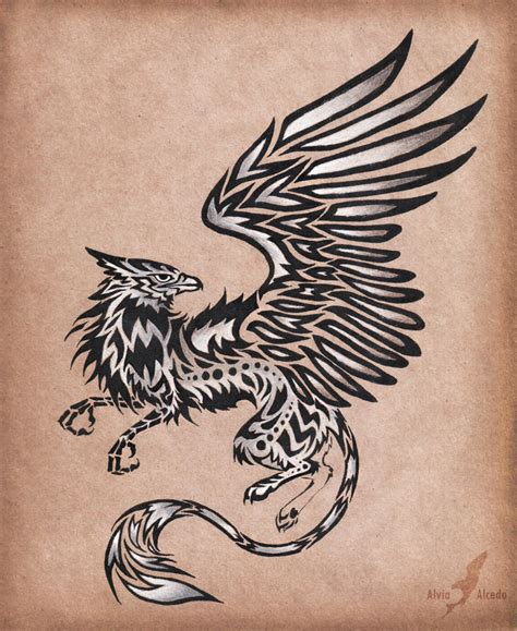 silver tattoo silver gryphon design by alviaalcedo on deviantart