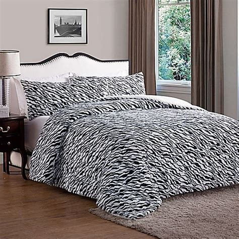 black faux fur comforter buy vcny animal faux fur queen comforter in black from bed