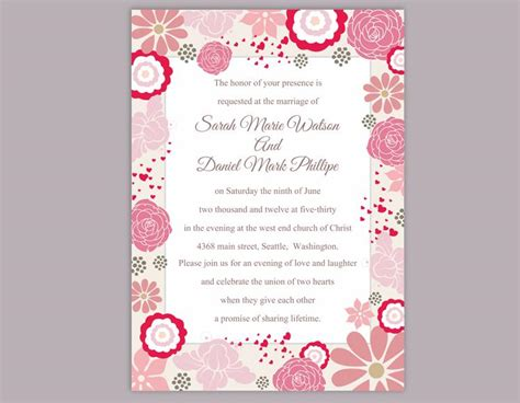 diy wedding invitation template editable word file instant