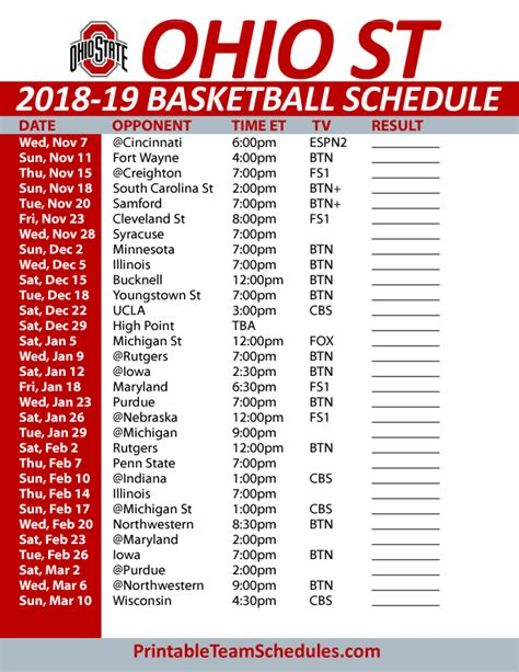 Ohio State Football Schedule Printable
