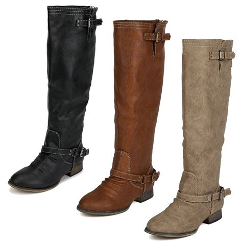 new womens buckle knee high back zipper boots