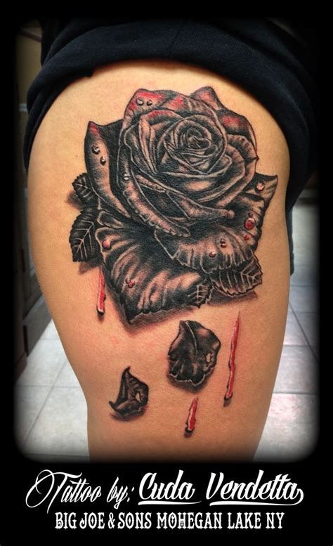 tattoos by cuda vendetta bleeding black rose for