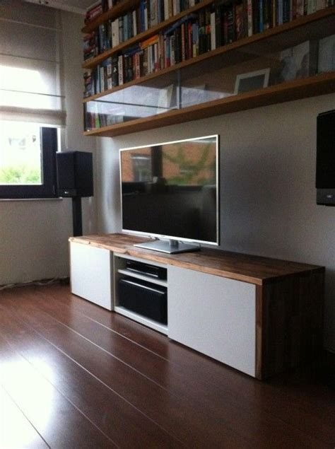 ikea tv stand hack stylish tv audio cabinet ikea hackers besta tv unit with acacia on top could do with walnut