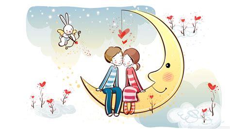 wallpaper love couple cartoon download sweet couple on moon wallpaper 1920x1080