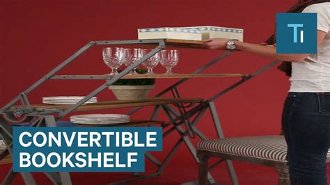 table converts to shelf bookshelf converts into a table for style and